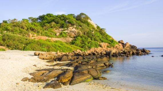 Coastal landscape off Pigeon Island, near Trincomalee, off the coast of eastern Sri Lanka.